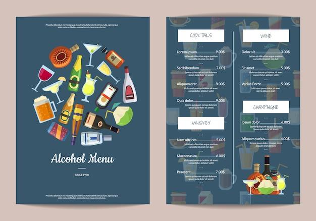 Plantilla de menú con bebidas alcohólicas en vasos y botellas.
