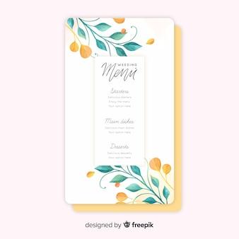 Plantilla de menú de boda en acuarela con flores