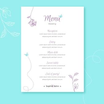 Plantilla de menú de boda con adornos florales