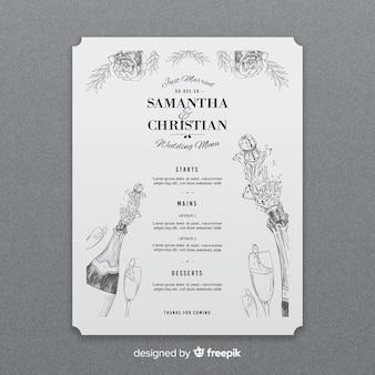 Plantilla de menú de boda dibujada a mano