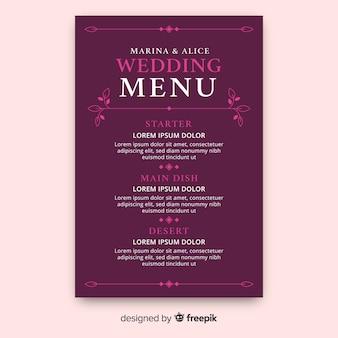 Plantilla de menú de boda dibujado a mano