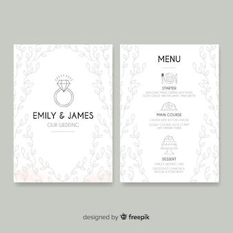 Plantilla de menú de boda dibujado