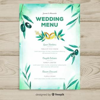Plantilla de menú de boda en estilo acuarela