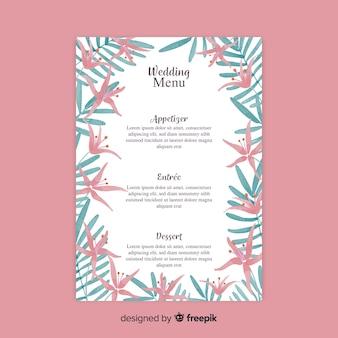 Plantilla de menú de boda estilo acuarela