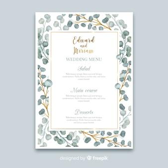 Plantilla de menú de boda floral en acuarela