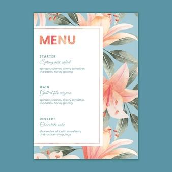 Plantilla de menú de boda floral