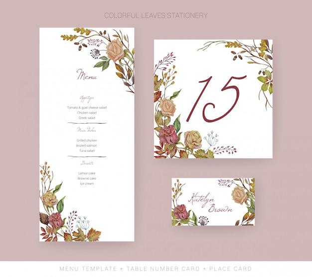 Plantilla de menú de boda de otoño, tarjeta de número de mesa, tarjeta de lugar