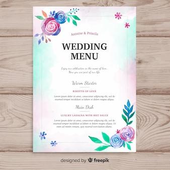 Plantilla de menú de boda