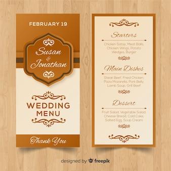 Plantilla de menú para boda