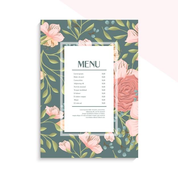 Plantilla de menú con borde floral rosa