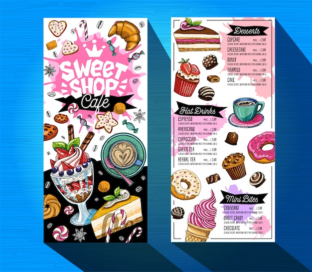 Plantilla de menú de cafetería tienda de dulces. etiqueta de diseño de logotipo colorido, emblema. rotulación, dulces, pastelería, croissant, dulces, galletas de colores, salpicaduras, café, garabato, delicioso.