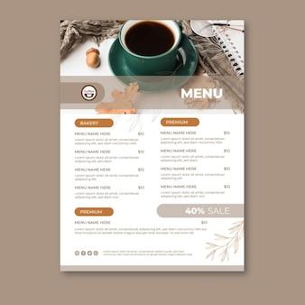Plantilla de menú de cafetería