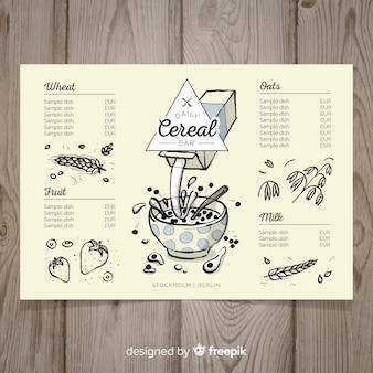 Plantilla de menú de cereales dibujado a mano