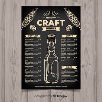 Plantilla de menú de cerveza artesana dibujado a mano