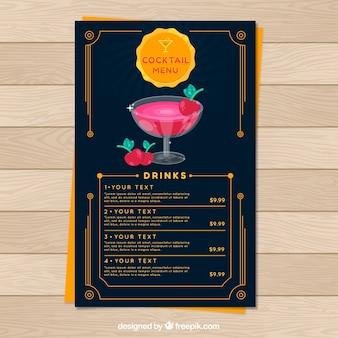Plantilla de menú de cócteles en diseño plano