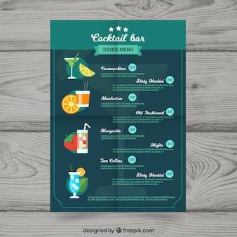Plantilla de menú de cócteles en estilo plano
