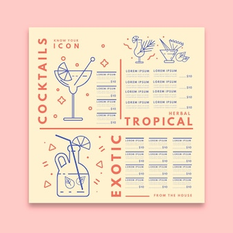Plantilla de menú de cócteles minimalista con ilustraciones dibujadas