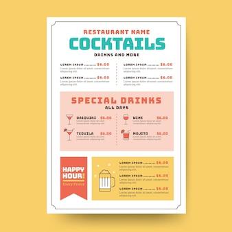 Plantilla de menú de cócteles minimalista