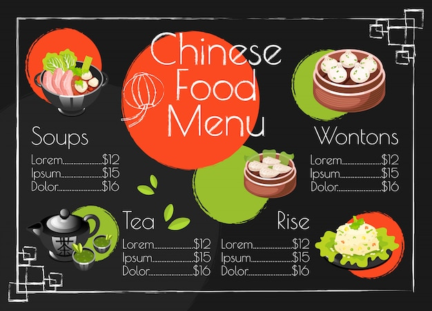 Plantilla de menú de comida china. cocina asiática platos tradicionales. diseño de impresión con iconos de dibujos animados. ilustraciones del concepto. restaurante, banner de cafetería, página de folleto de volante con diseño de precios de alimentos