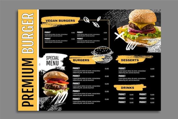 Plantilla de menú de comida de hamburguesa premium oscura simple
