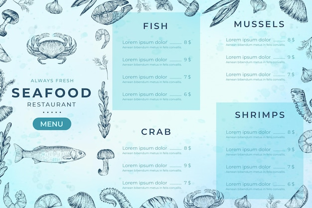 Plantilla de menú de comida de mar