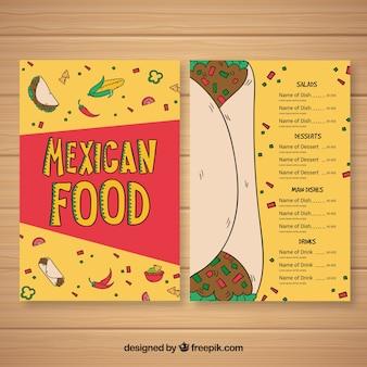 Plantilla de menú de comida mexicana con burrito