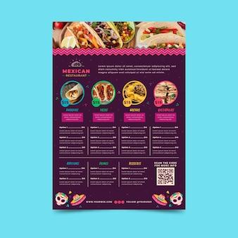Plantilla de menú de comida mexicana con foto