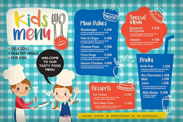 Plantilla de menú de comida de niños coloridos lindos