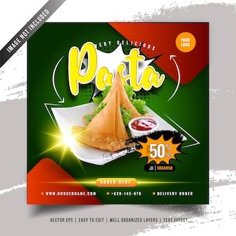 Plantilla de menú de comida de pasta