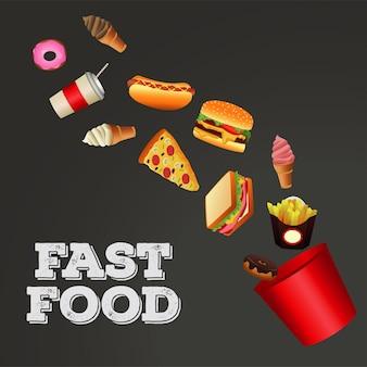 Plantilla de menú de comida rápida en fondo gris