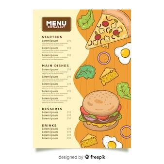 Plantilla de menú de comida rápida poco saludable