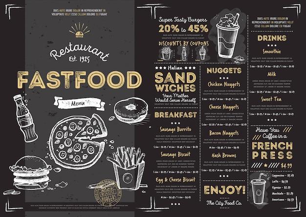 Plantilla de menú de comida rápida de restaurante café
