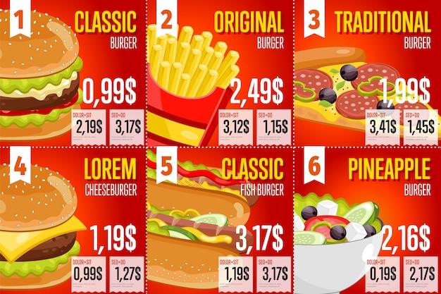 Plantilla de menú de comida rápida.
