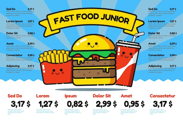 Plantilla de menú de comida rápida