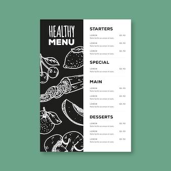 Plantilla de menú de comida saludable dibujada a mano