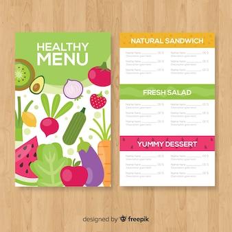 Plantilla de menú de comida saludable en diseño plano