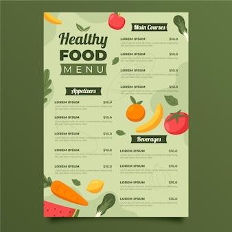 Plantilla de menú de comida saludable