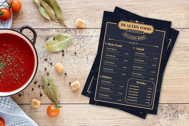 Plantilla de menú de comida sana vintage