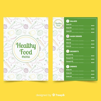Plantilla de menú de comida sana