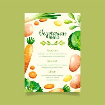 Plantilla de menú de comida vegetariana en acuarela
