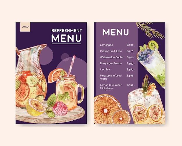 Plantilla de menú con concepto de bebidas refrescantes, estilo acuarela