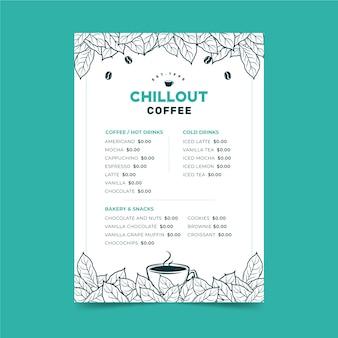 Plantilla de menú de concepto de café