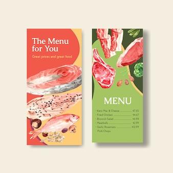 Plantilla de menú con concepto de dieta cetogénica para restaurante y tienda de alimentos ilustración acuarela.