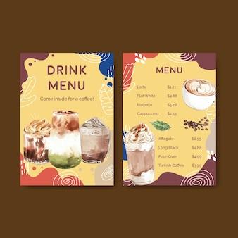 Plantilla de menú con concepto de estilo de café coreano para acuarela de restaurante y bistró