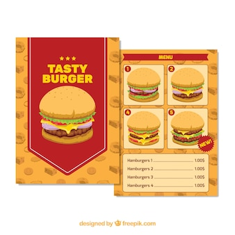 Plantilla de menú con cuatro hamburguesas diferentes