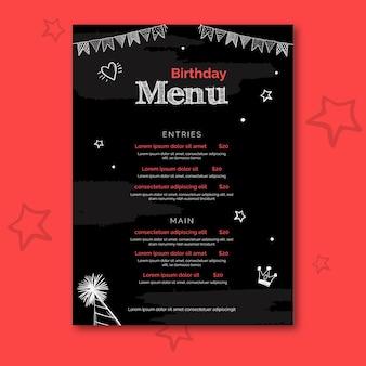 Plantilla de menú de cumpleaños con ilustraciones