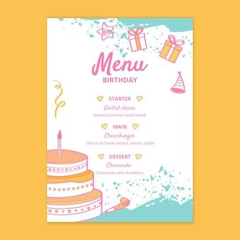 Plantilla de menú de cumpleaños para niños