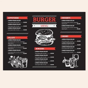 Plantilla de menú de deliciosa hamburguesa