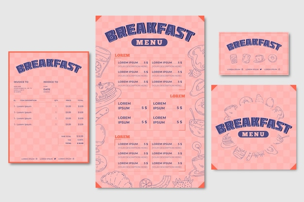 Plantilla de menú de desayuno y tarjeta de visita