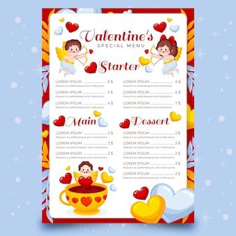 Plantilla de menú del día de san valentín dibujada a mano